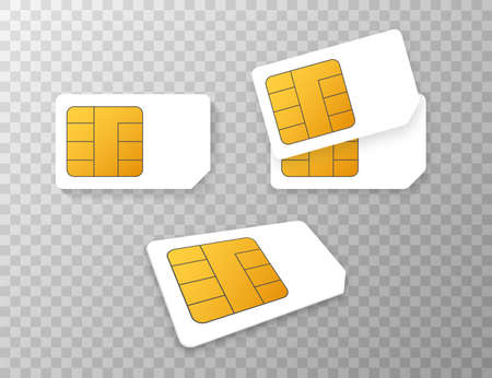 Vector Mobile Cellular Phone Sim Card Chip Isolated on Background.