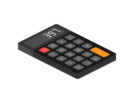 Black calculator white background. Modern design. Electronic portable calculator. Vector stock illustration.