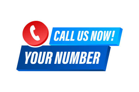 Call us now. Information technology. Telephone icon. Customer service. Vector stock illustration.