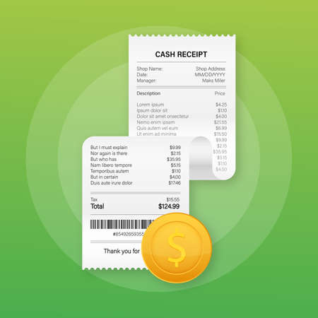 Receipts vector illustration of realistic payment paper bills for cash or credit card transaction. Vector stock illustration  イラスト・ベクター素材