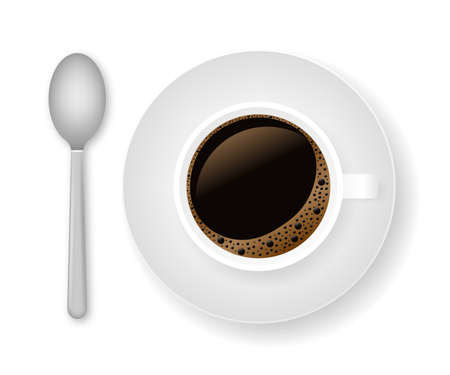 Hot coffee in a white cup and saucer. Vector stock illustration  イラスト・ベクター素材