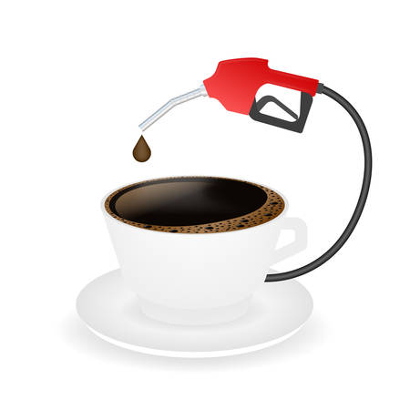 Hot coffee in a white cup and saucer. Coffee is power. Vector stock illustration  イラスト・ベクター素材