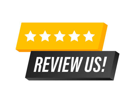 Review us User rating concept. Review and rate us stars. Business concept. Vector illustration Illustration