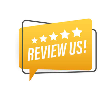 Review us User rating concept. Review and rate us stars. Business concept. Vector illustration  イラスト・ベクター素材