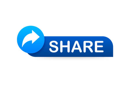 Share button in flat style on blue background. Social media. Vector stock illustration  イラスト・ベクター素材