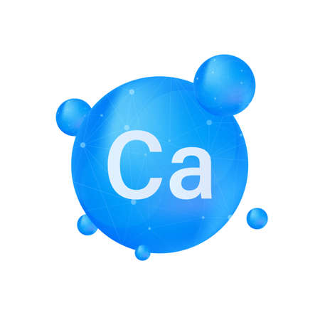 Blue calcium on white background. Calcium mineral. Vector stock illustration