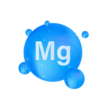 Blue magnesium on white background. Magnesium mineral. Mg pill capsule. Vector stock illustration
