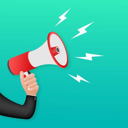 Human hand holding megaphone. Social media marketing concept. Vector stock illustration