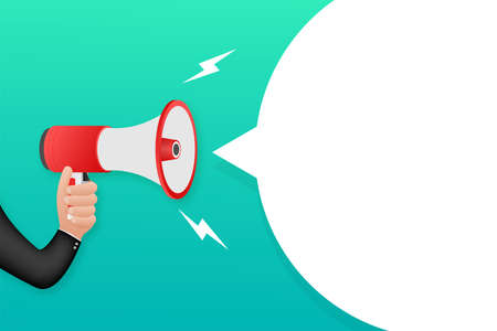 Human hand holding megaphone. Social media marketing concept. Vector stock illustration