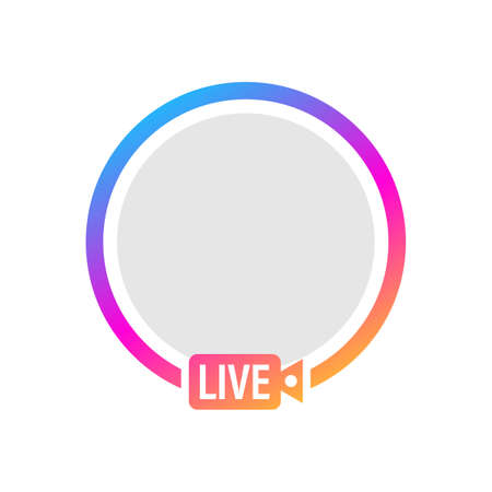 Social media icon avatar frame. Live stories user video streaming. Vector illustration