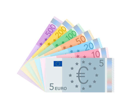 Euro money banknotes. Flat euro for paper money. Business concept. Vector stock illustration. 向量圖像
