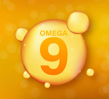 Omega 9 gold icon. Vitamin drop pill capsule. Shining golden essence droplet. Vector illustration.