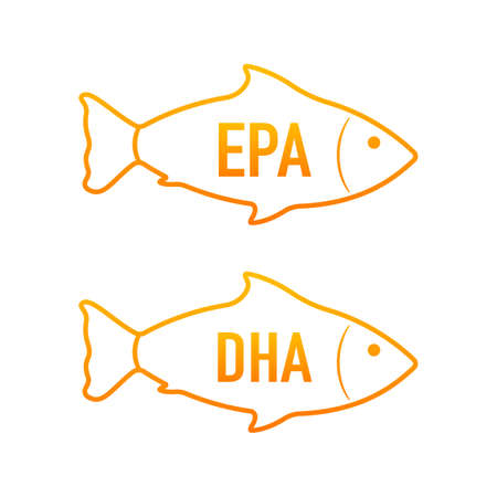 EPA, DHA Vector Drops Set. Omega Three. Organic Vitamin. Vector illustration. 向量圖像
