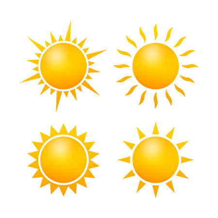 Set Realistic sun icon for weather design on white background. Vector stock illustration.