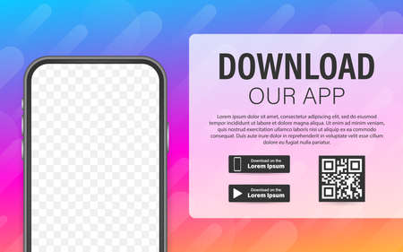 Download page of the mobile app. Empty screen smartphone for you app. Download app. Vector stock illustration 向量圖像