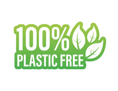 Plastic free green icon badge. Bpa plastic free chemical mark. Vector illustration.