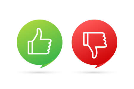 Flat green button on red background. Ok sign. Trumb up, great design for any purposes. Social media concept. Vector stock illustration. 向量圖像