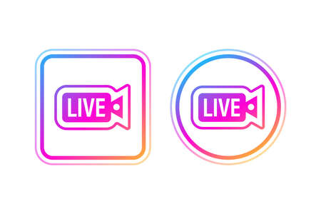 Social media icon avatar frame. Live stories user video streaming. Vector illustration.