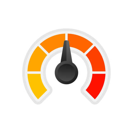 Round temperature gauge, isolated on white background. Colored measuring semicircle scale in flat style. Vector stock illustration. 向量圖像