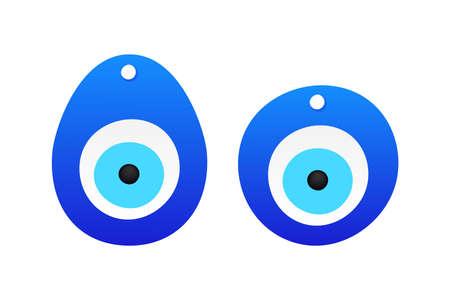 Eye-shaped amulet in flat style. Superstition symbol. Traditional eye shaped amulet. Vector stock illustration