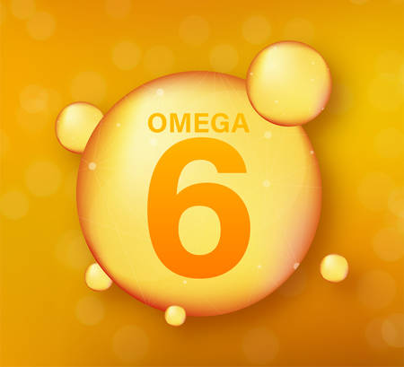 Omega 6 gold icon. Vitamin drop pill capsule. Shining golden essence droplet. Vector illustration.