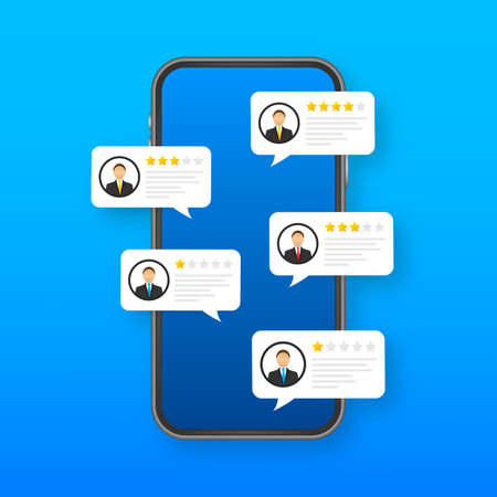 Review rating bubble speeches on mobile phone illustration, flat style smartphone reviews stars with good and bad rate and text. Vector Vector stock illustration 向量圖像
