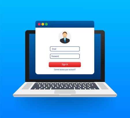 Sign in to account, user authorization, login authentication page concept. Laptop with login and password form page on screen. Vector stock illustration