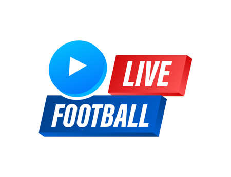 Live Football streaming Icon, Button for broadcasting or online football stream. Vector illustration. 向量圖像
