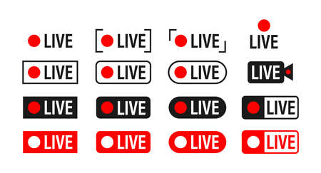 Set of live streaming icons. Broadcasting. Red symbols and buttons of live stream, online stream. Vector stock illustration.