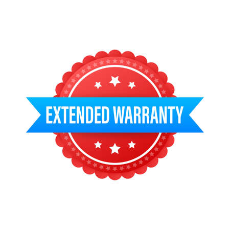 Extended warranty label or sticker. Badge, icon, stamp Vector illustration