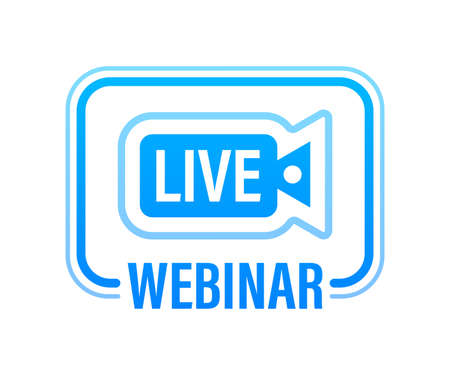 Webinar Icon, flat design style with blue play button. Vector illustration. 向量圖像