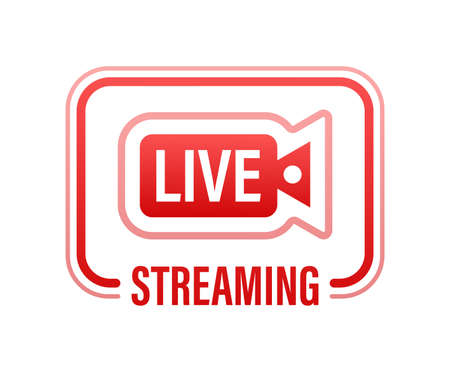 Live streaming flat logo - red vector design element with play button. Vector illustration