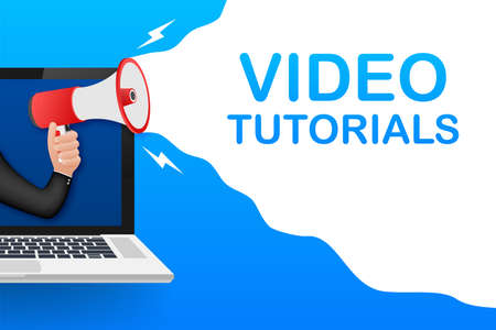 Video tutorials icon concept. Study and learning background, distance education and knowledge growth. Video conference and webinar icon, internet and video services. Vector illustration.