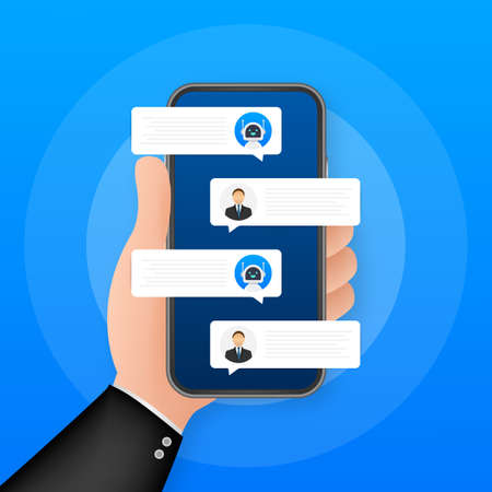 Chat bot robot concept on smartphone screen. Template chat, message. Ai - artificial intelligence. Vector stock illustration