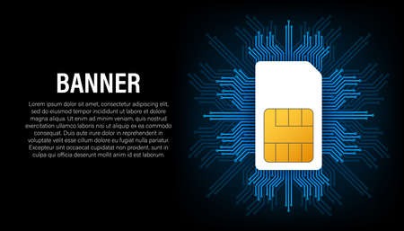 Sim card banner in abstract style on black background. Modern communication technology. Concept banner. Digital chip. Mobile phone wireless communication. Vector stock illustration.