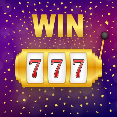 Retro banner for game background design. Winner banner. Slot machine with lucky sevens jackpot. Vector stock illustration. Ilustración de vector