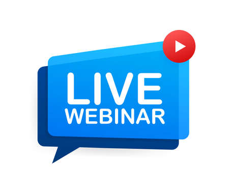 Live Webinar Button, icon, emblem label Vector illustration.