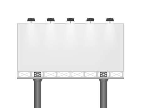 Billboard on light background. Empty white vector horizontal poster template. Template for marketing design. Vector stock illustration.