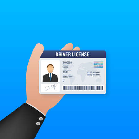 Man driver license plastic card template. Id card. Vector stock illustration.