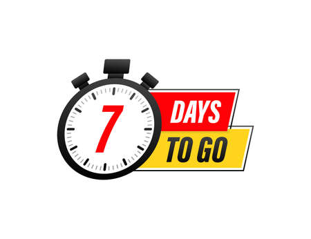 7 Days to go. Countdown timer. Clock icon. Time icon. Count time sale. Vector stock illustration. 일러스트