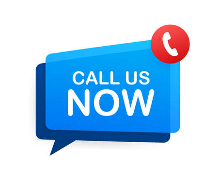 Call us now. Information technology. Telephone icon. Customer service. Vector stock illustration