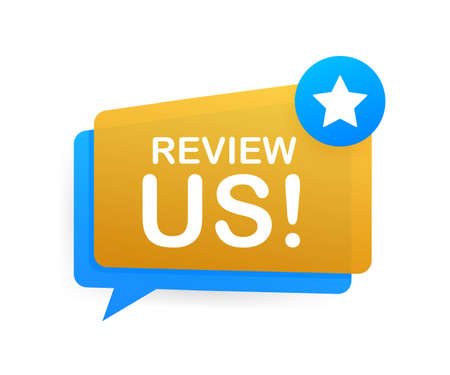 Review us. User rating concept. Review and rate us stars. Business concept. Vector illustration.