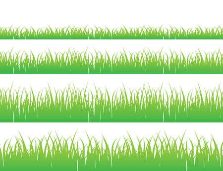 Green grass meadow border vector pattern. Grass background Vector Illustration.