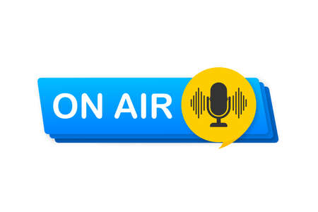 Podcast icon like on air live. Podcast. Badge, icon, stamp. Radio broadcasting or streaming. Vector illustration.
