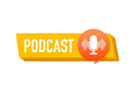 Podcast. Badge, icon, stamp Ilustracja