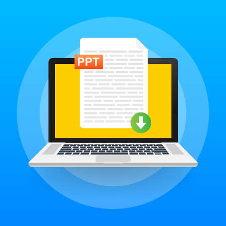 Download PPT button. Downloading document concept. File with PPT label and down arrow sign. Vector illustration