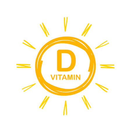 Vitamin D Icon with Sun. Vector stock illustration.