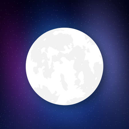 Planet in Space. Realistic moon. Vector stock illustration.