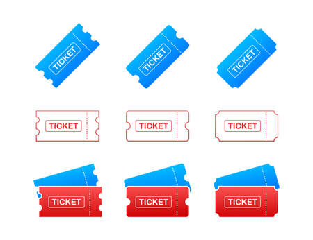 Set Ticket icon on white background. Vector illustration.
