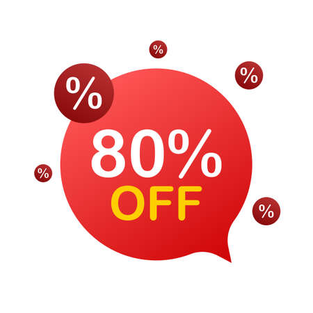 80 percent OFF Sale Discount Banner. Discount offer price tag. 80 percent discount promotion flat icon with long shadow. Vector illustration.